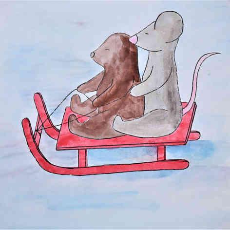 Mole & Mouse sledding