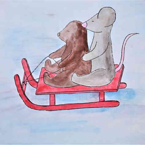"Illustrated card | ""Mole & Mouse Sledding"""