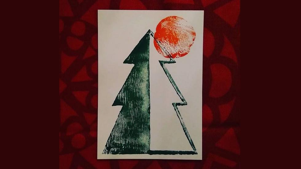 "Linocut greeting card: ""Sunlight Through the Trees"""