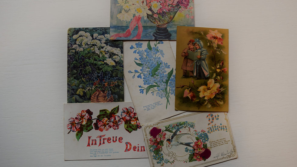 6 reprinted vintage postcards: Florals