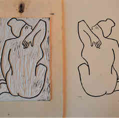A4 linocut print, Nude 1: Arm Against Back (back)