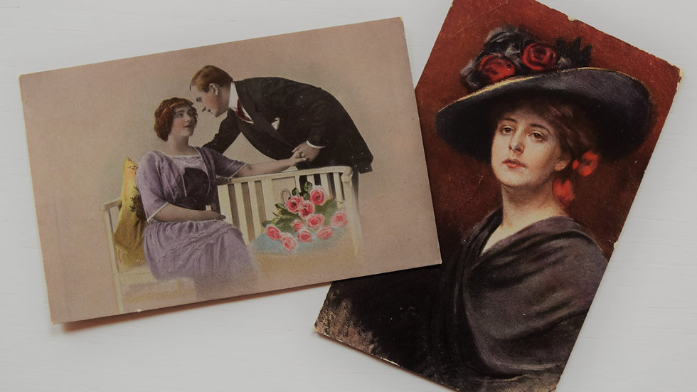 2 reprinted vintage postcards: Ladies