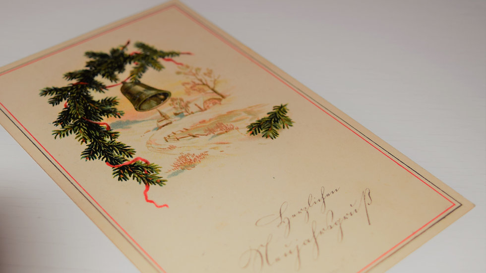 3 reprinted vintage New Year's postcards (with bell)