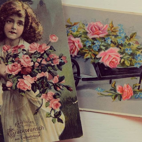Birthday postcards with roses
