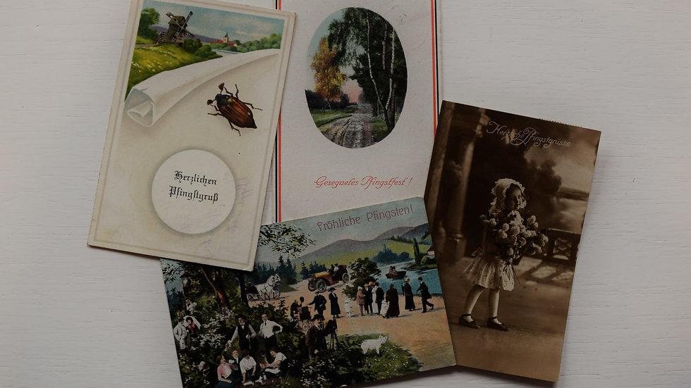 4 reprinted vintage postcards: Pentecost / Pfingsten