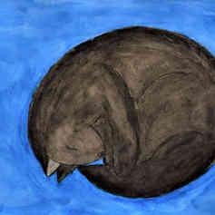 "Illustrated card   ""Sleeping Cat"""