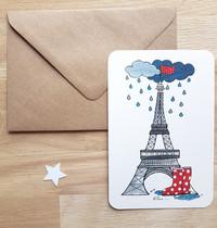"""CARTE """"Les bottes"""" - Tour Eiffel"""