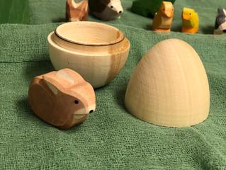 Wooden hollow eggs-