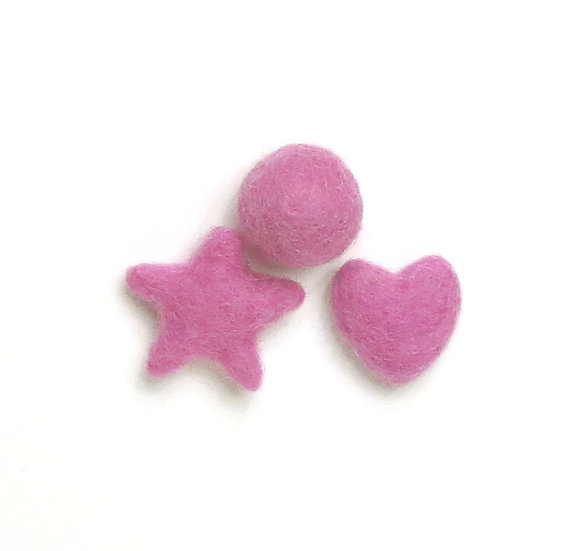 Brilliant Rose- wool felted shapes