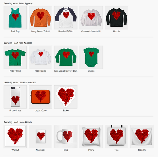 8 TeePublic Growing Heart gifts by Elena