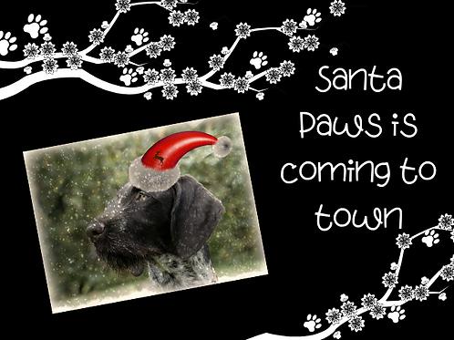 Black Santa Paws Christmas Cards
