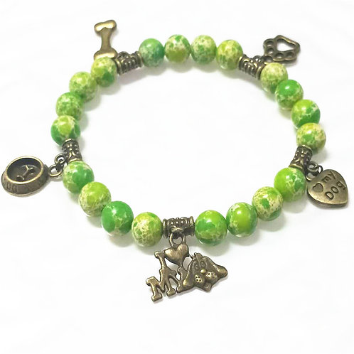 Green and bronze charm bracelet