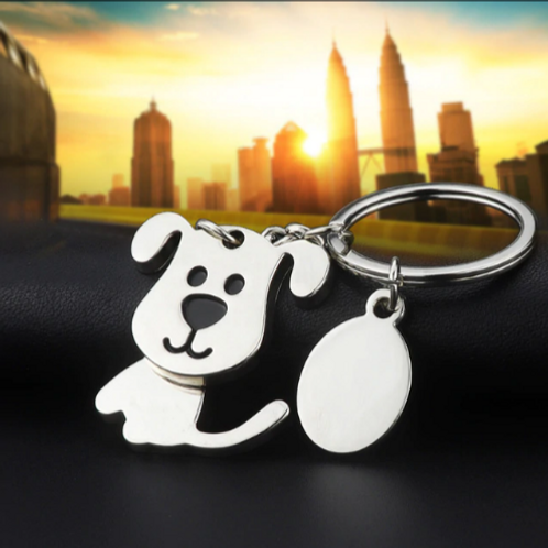 Moving Dog Keychain
