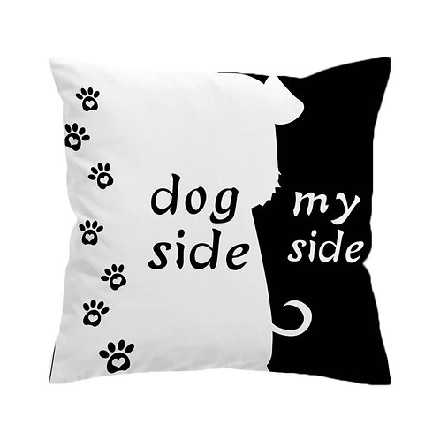 Black and White Dog Side Cushion cover