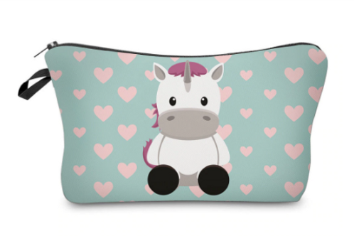 Love Heart Unicorn Make Up bag with brush and Puff