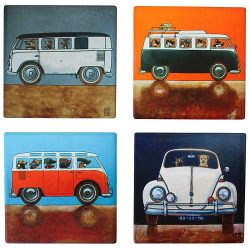 Dogs in Cars Coasters (set of 4)