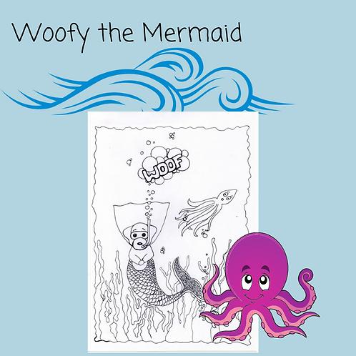 Woofy the Mermaid Coloring