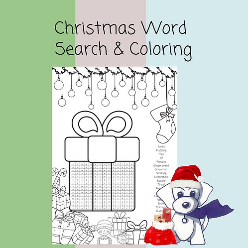 Christmas Word Search and coloring