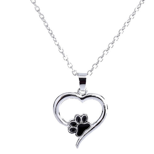Paw and Heart Pendant Necklace