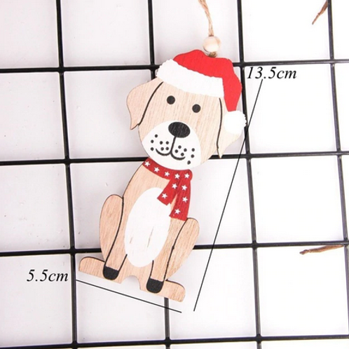 Wooden Christmas Tree Decoration - Dog