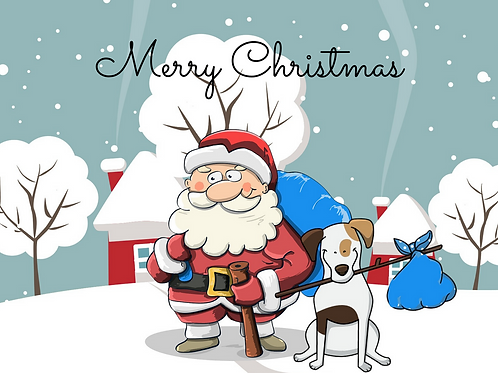 Fun Santa and Dog Christmas Card
