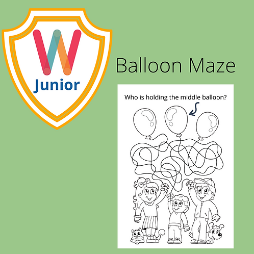 Follow the Balloons Puzzle and Color