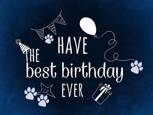 Navy blue best birthday ever card