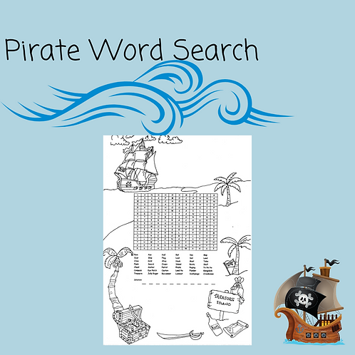Pirate Word Search and Coloring