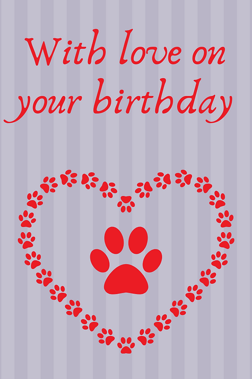 Silver and Red paw hearts Birthday Card