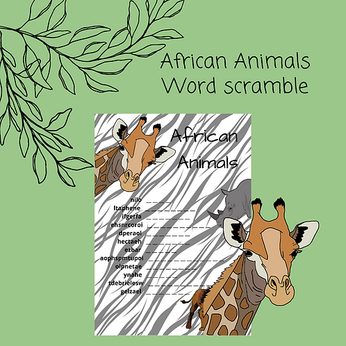 African Animals Word Scramble