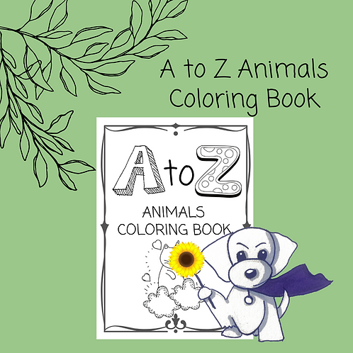 A to Z Animals Coloring Book - 29 pages