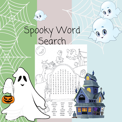 Spooky Word Search & Coloring