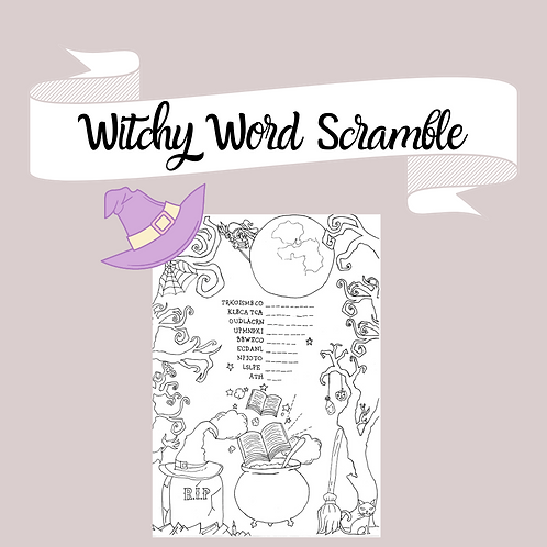 Witchy Word Scramble and coloring