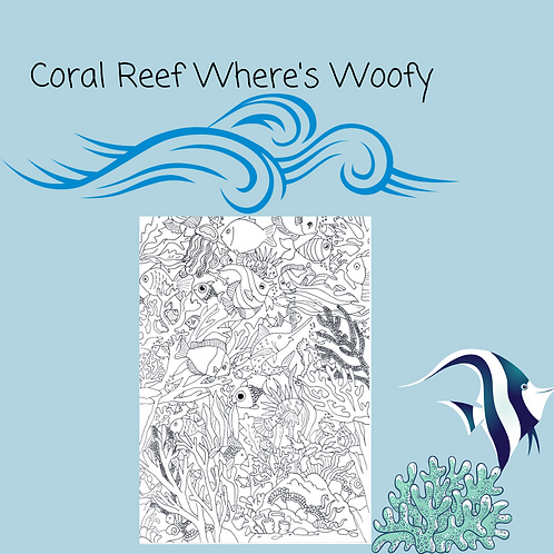 Where's Woofy? Coral Reef Coloring Puzzle