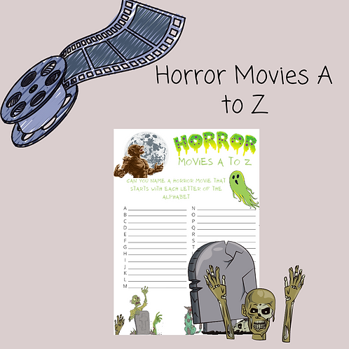 Horror Movies A to Z puzzle & game