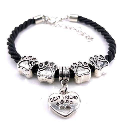 Black Rope 4 Paws Bracelet