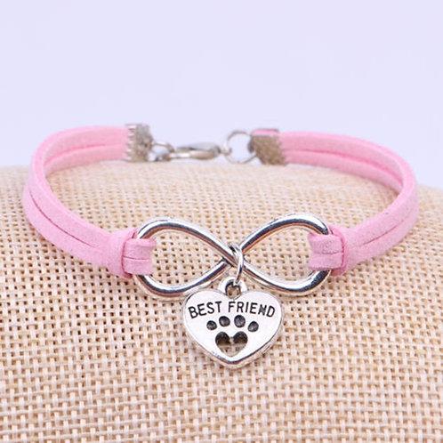 Pink bracelet with Best Friend charm