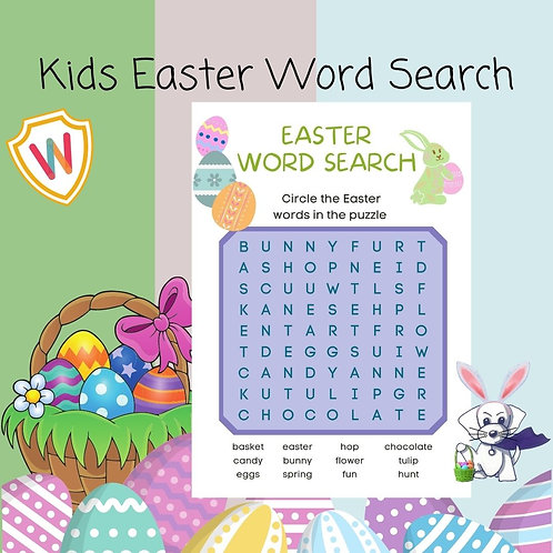 Kids Easter Word Search Puzzle