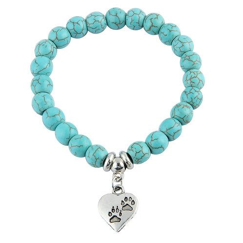 Blue bead pawprint heart bracelet