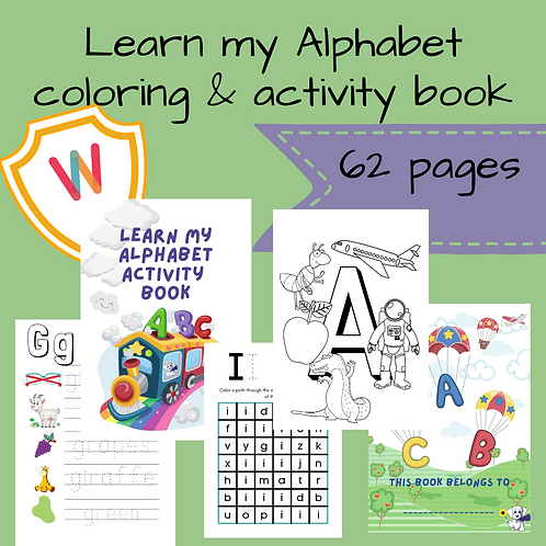 Learn my Alphabet coloring & activity book - 62 pages