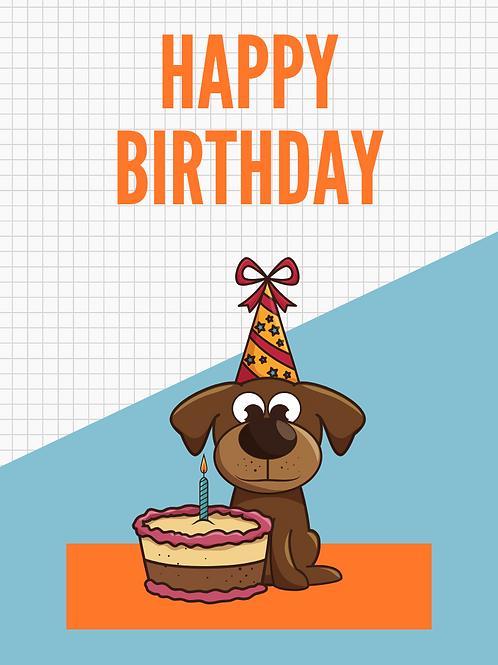Dog with cake birthday card