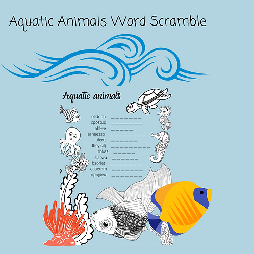 Aquatic Animals Word Scramble