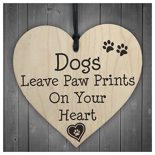 Paw prints on your heart Wooden Hanging Plaque