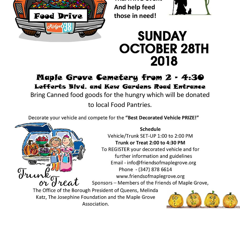 Trunk or Treat **DATE CHANGE - SUNDAY OCT 28**