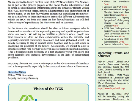 The 1st issue of the IYCN Newsletter