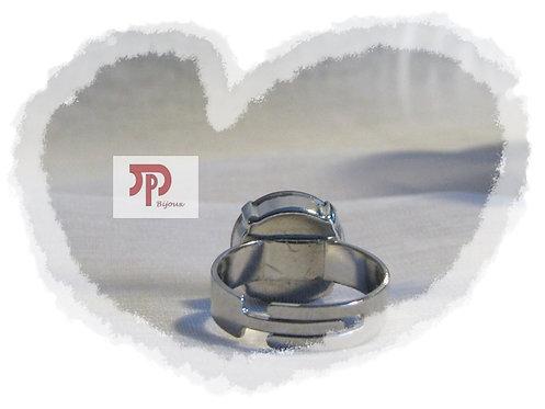 Bague cabochon cristal Swarovski rouge
