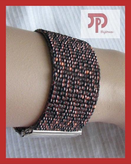 Bracelet rocaille orange/noir