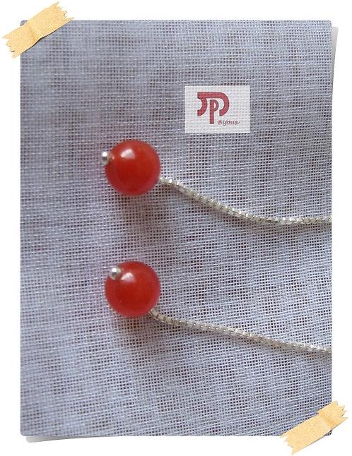 Chaînettes d'oreilles perles en jade