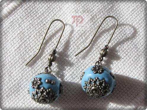 Boucles d'oreilles perles couleur turquoise
