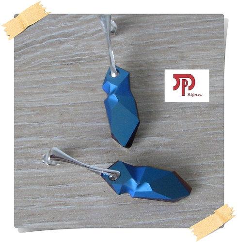 Clous d'oreilles Cristal Swarovski metallic blue